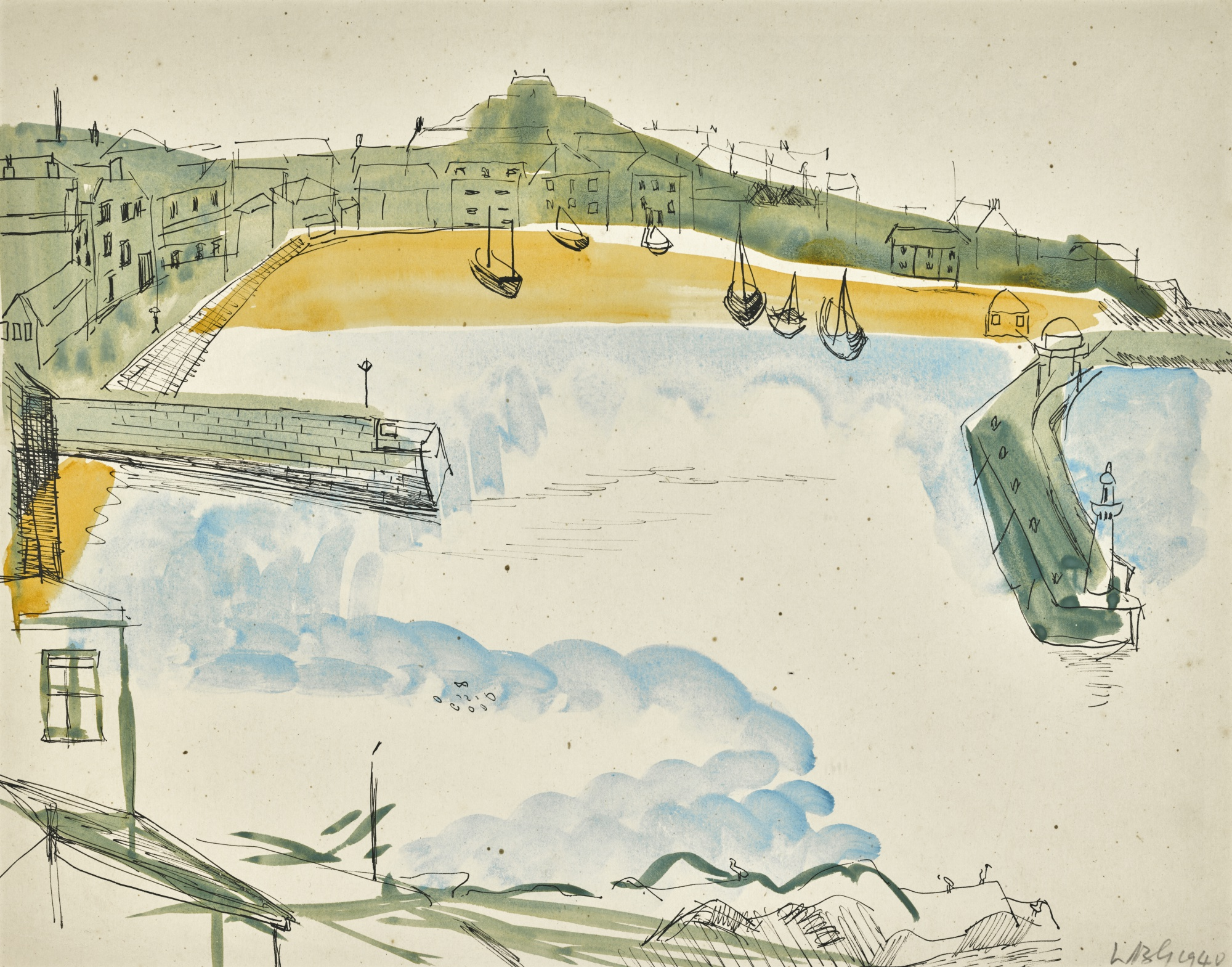 Wilhelmina Barns-Graham,  View of St. Ives Harbour,  1940.