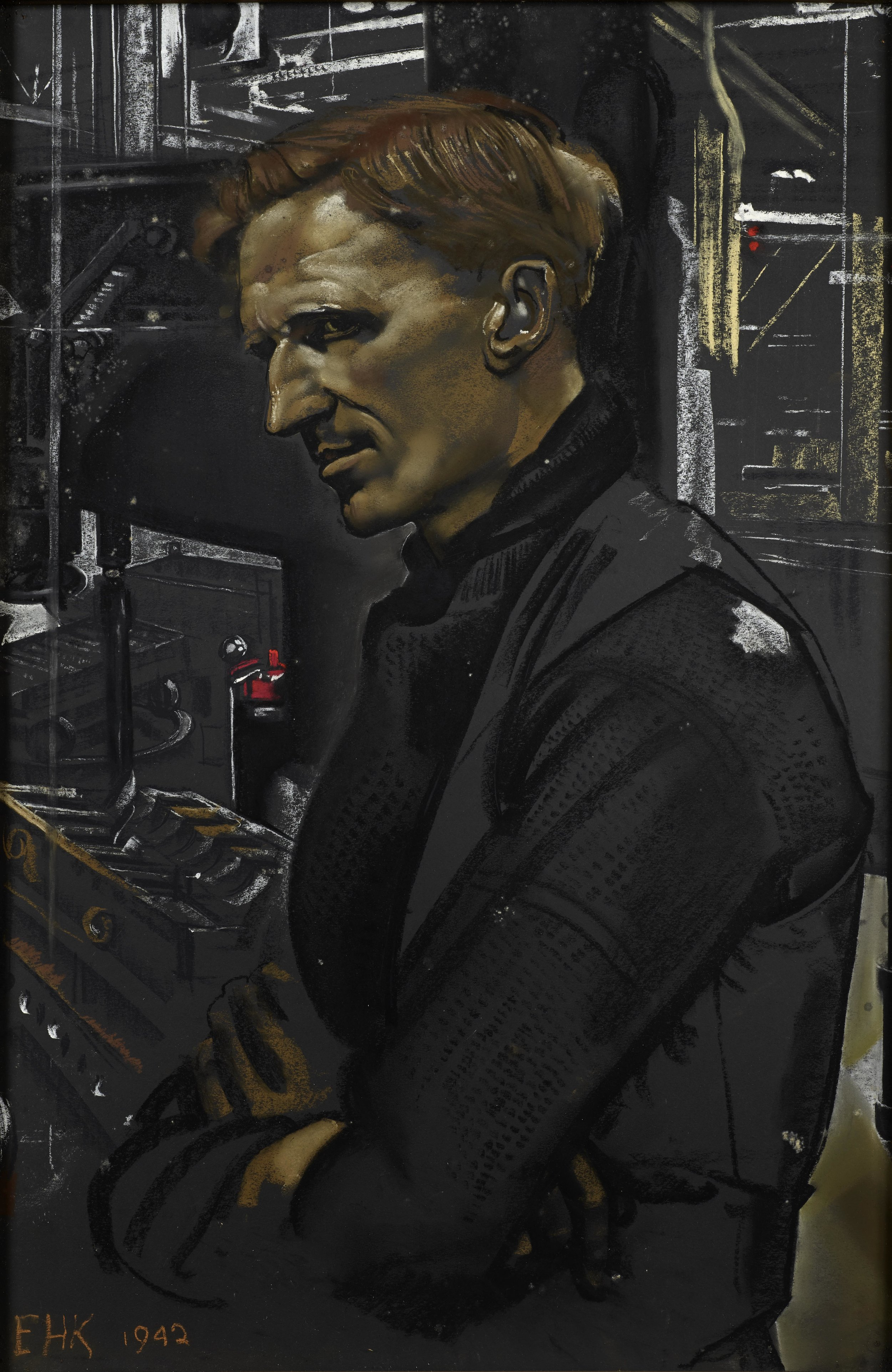 Eric Kennington R.A (1888-1960) ,  Worker in Churchill Tank Factory - Thomas 'Jock' Adair,  Oil on canvas, signed & dated 1942, 76 x 52cm.
