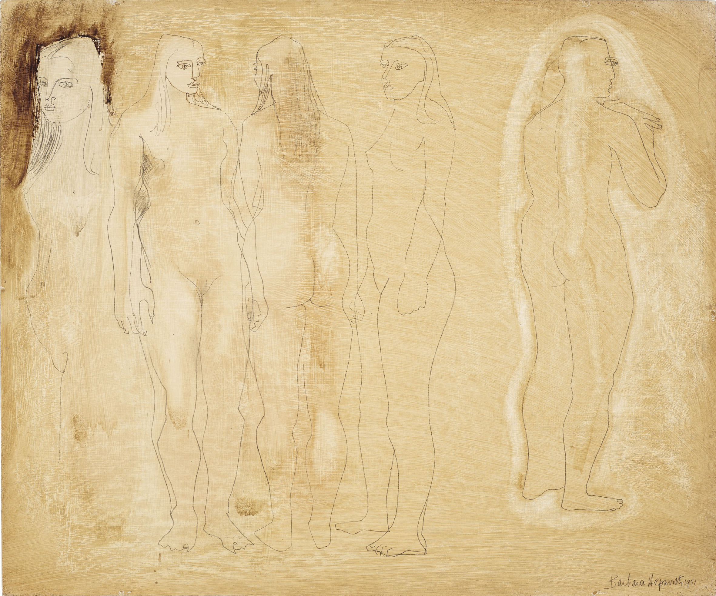 Barbara Hepworth (1903-1975) ,  Group of Figures and Head (Burnt Umber) , 1951, Oil and pencil on masonite, 50 x 60 cm