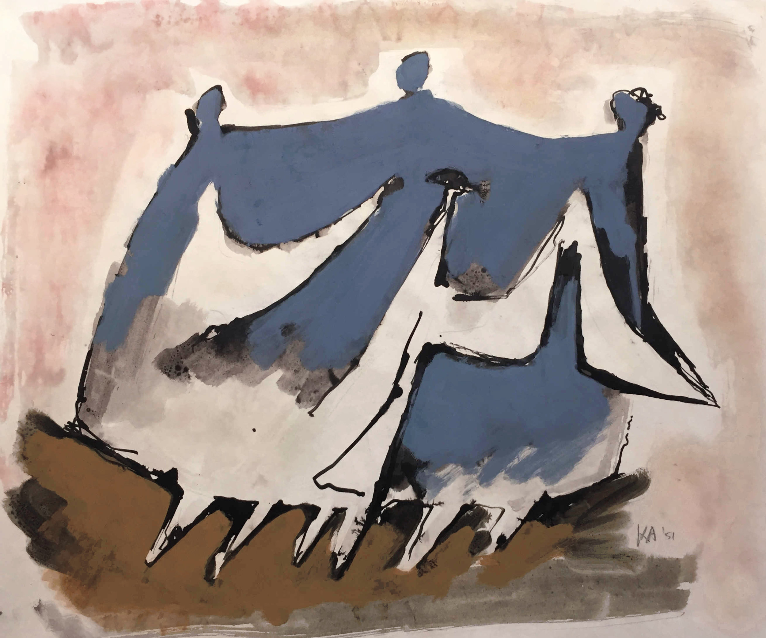 Kenneth Armitage 1916 - 2002 ,  Family Going for a Walk , Gouache, ink and wash, 36.5 x 46.0 cms