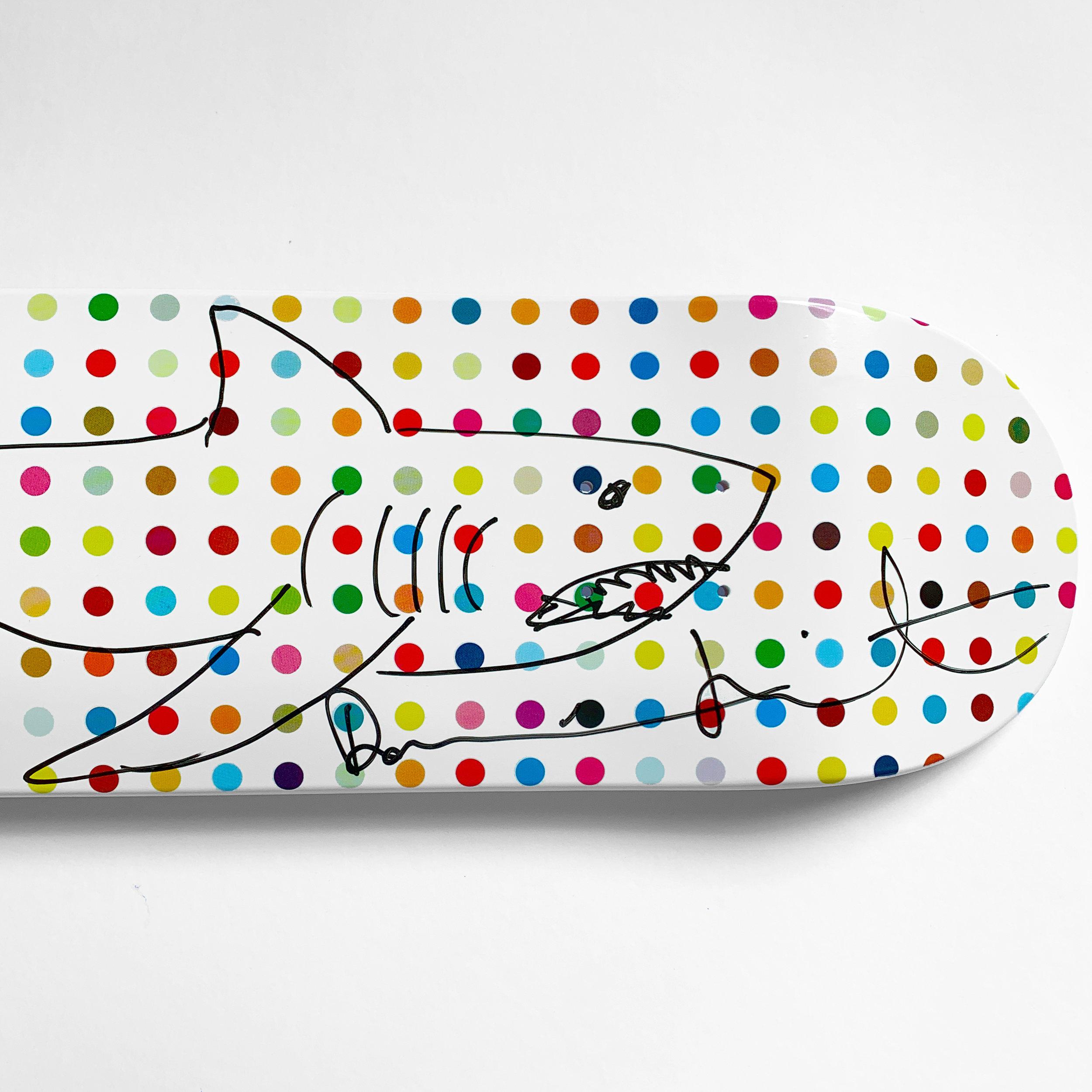 """Damien Hirst ,  Unique """"Shark"""" Deck , Marker on Skate Deck, 81.9 × 38.1 cm. edition of 40"""