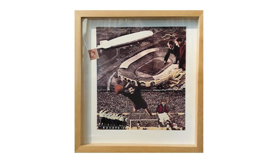 David Wild b.1938 ,  Fragments of Utopia (football) , Original Collage, 25 X 28cm