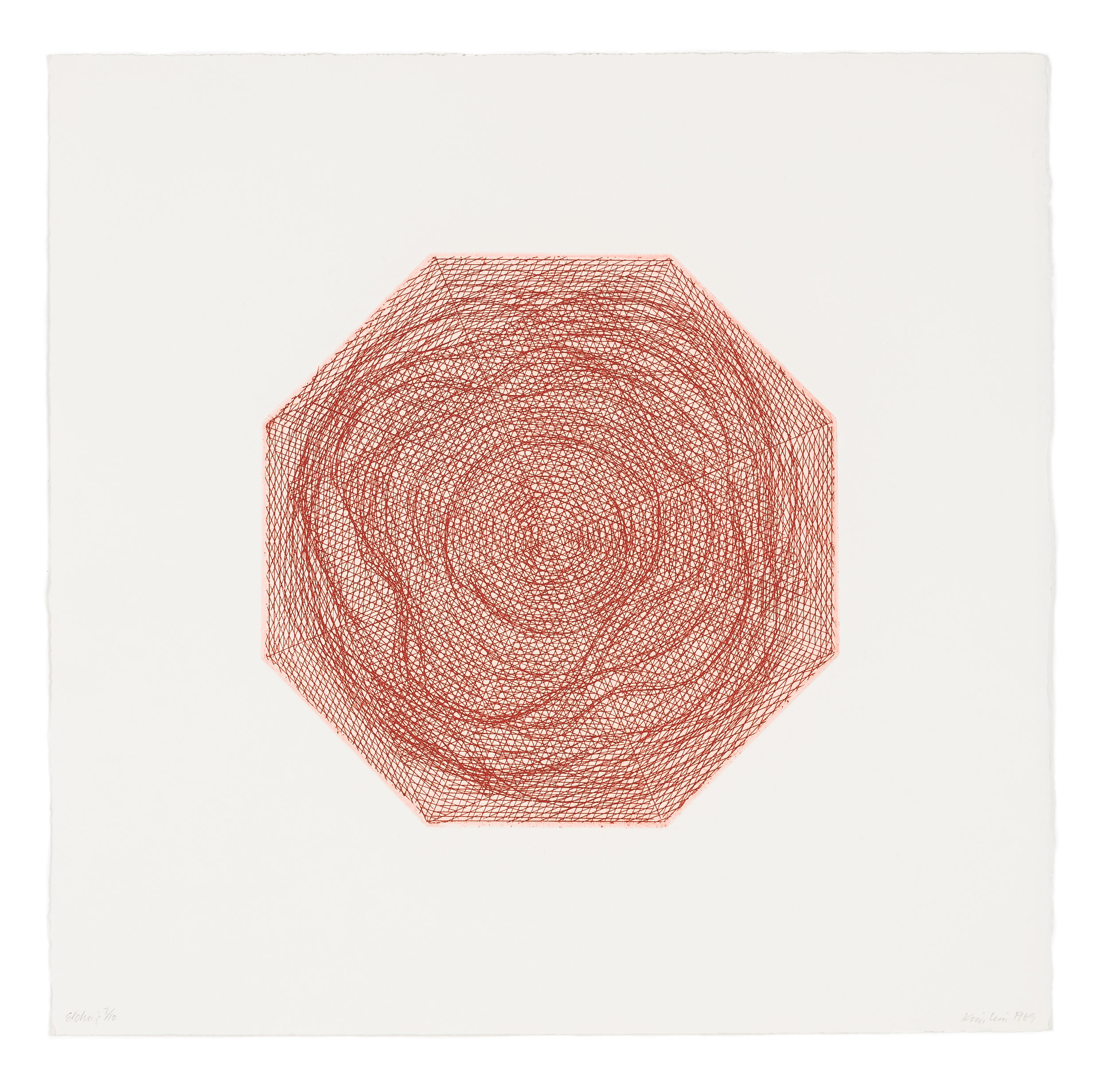 Kim Lim (1936-1997) ,  Red Octagon , etching, 40 x 40 cm, edition of 10