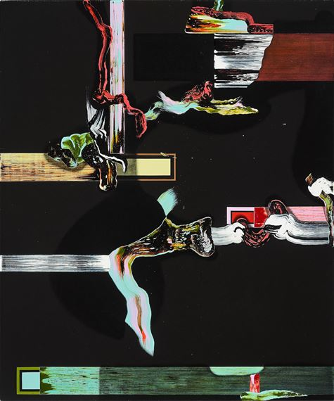 Fiona Rae (b.1963) ,  Predator , Oil and Acrylic on Canvas, 52.5 x 127cm