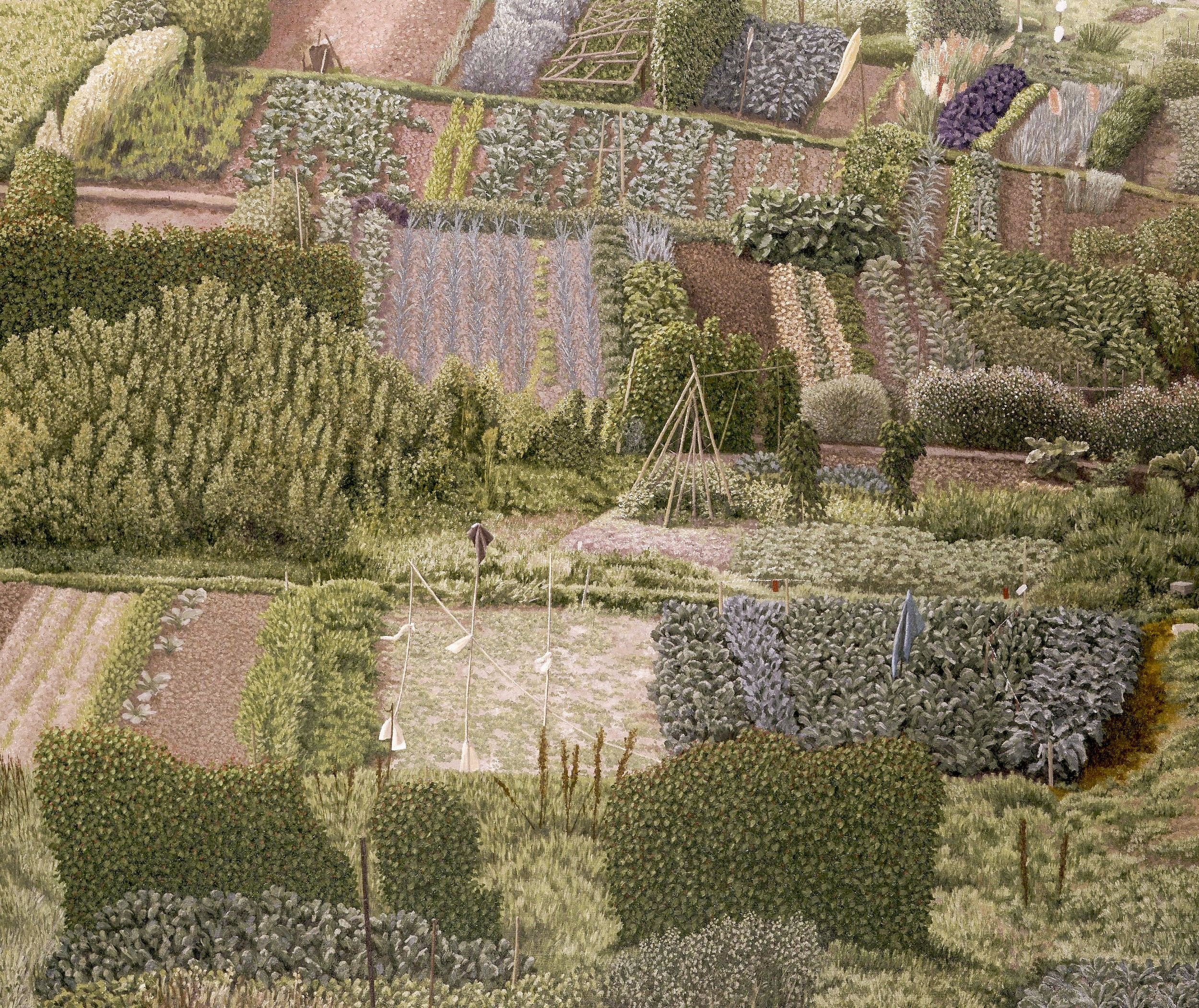 David Inshaw ,  Allotments , 1988. oil on canvas. Courtesy of The Redfern Gallery