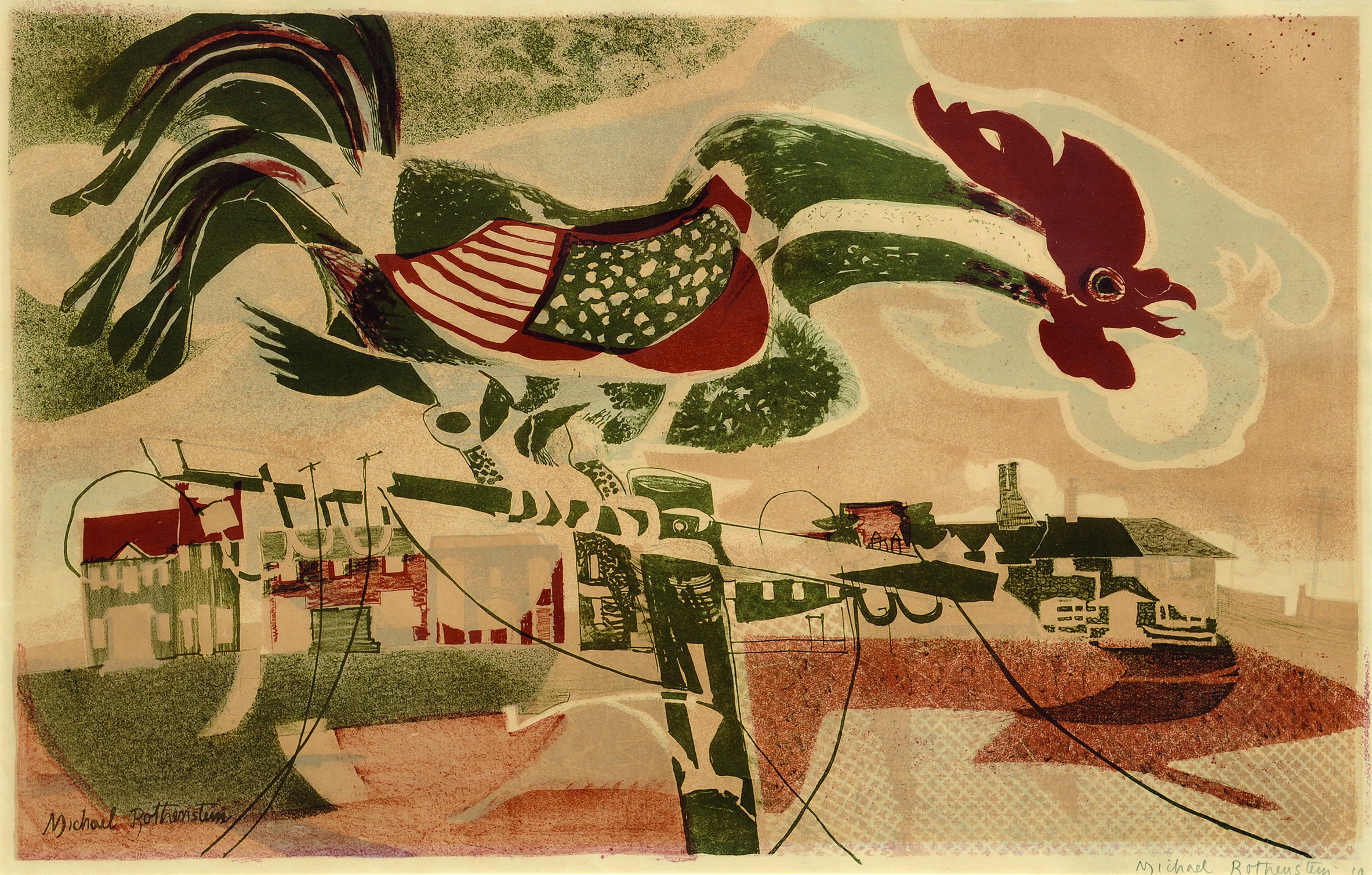 Michael Rothenstein( 1908 - 1993) ,  The Cockerel , Lithograph, 470mm x 730mm, 50 (not all printed)