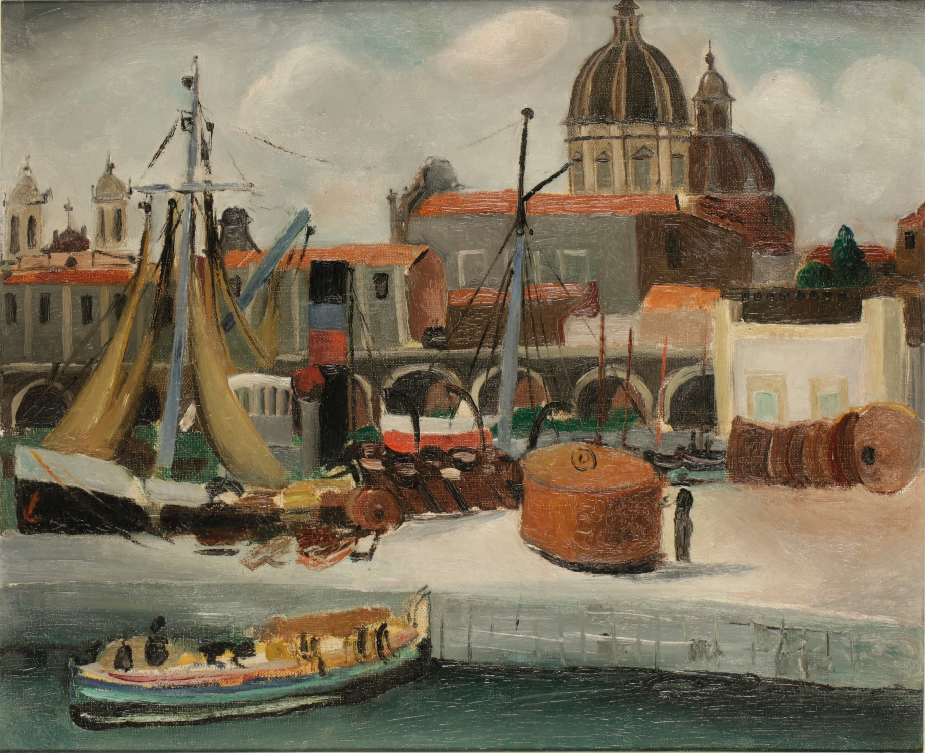 Christopher Wood (1901 - 1930) ,  On the Quay (Catania) , 1927, Oil on canvas, 37.5 x 45.75 cm