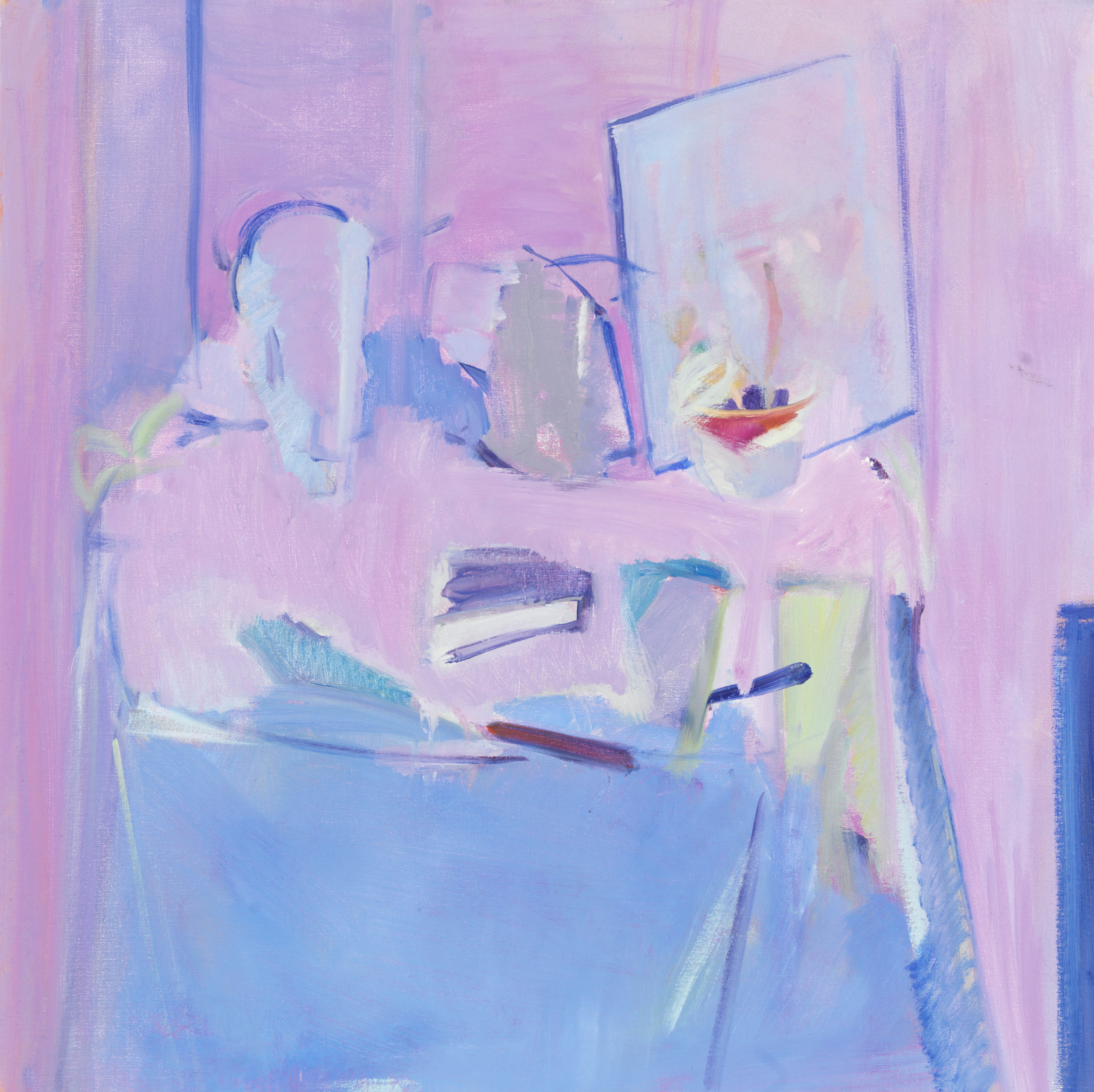 Rose Hilton (1931-2019),   Blue Still Life , Oil on canvas, 76 x 76cm