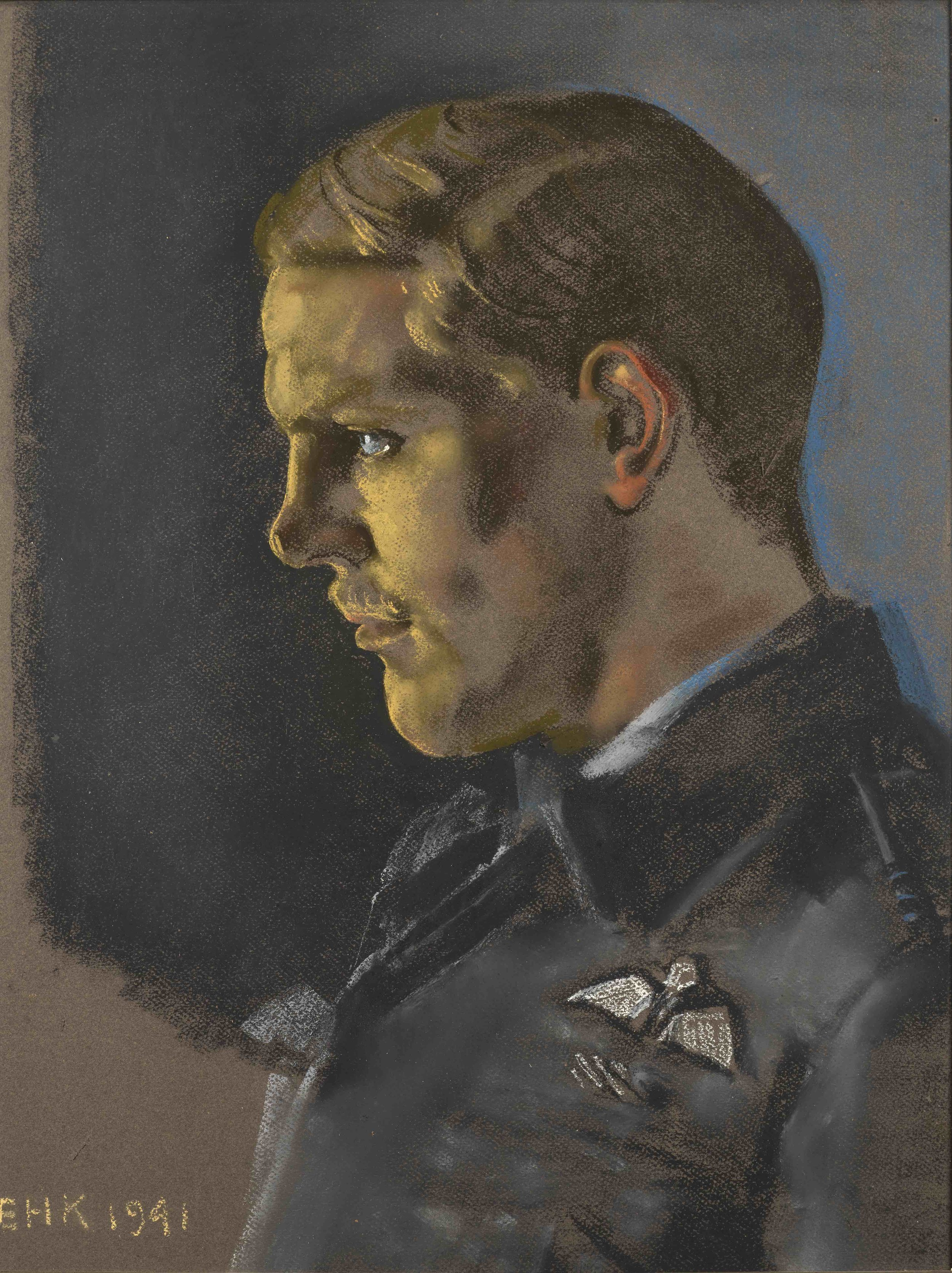 Eric Kennington (1888-1960) ,  The Great Escape: Squadron Leader Ian Pembroke Cross DFC , Pastel on paper, 57 x 43 cm