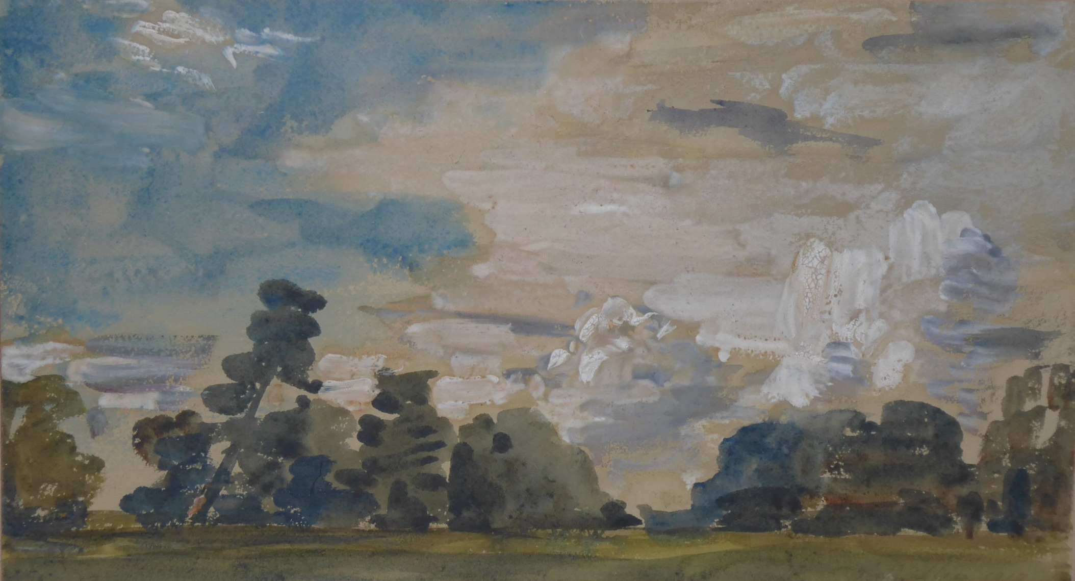 Philip Wilson Steer (1860 - 1942),   Trees and Sky,  1917, Watercolour, 19 x 34 cm