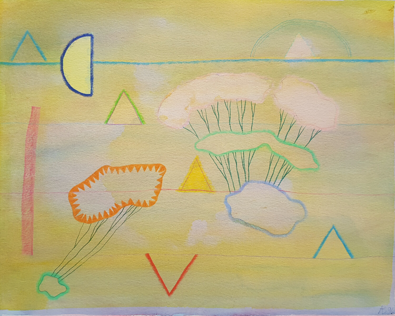 Anthony Benjamin,     Untitled (Yellow Clouds),  Watercolour on paper, 1996, 25.4 x 31.75cm