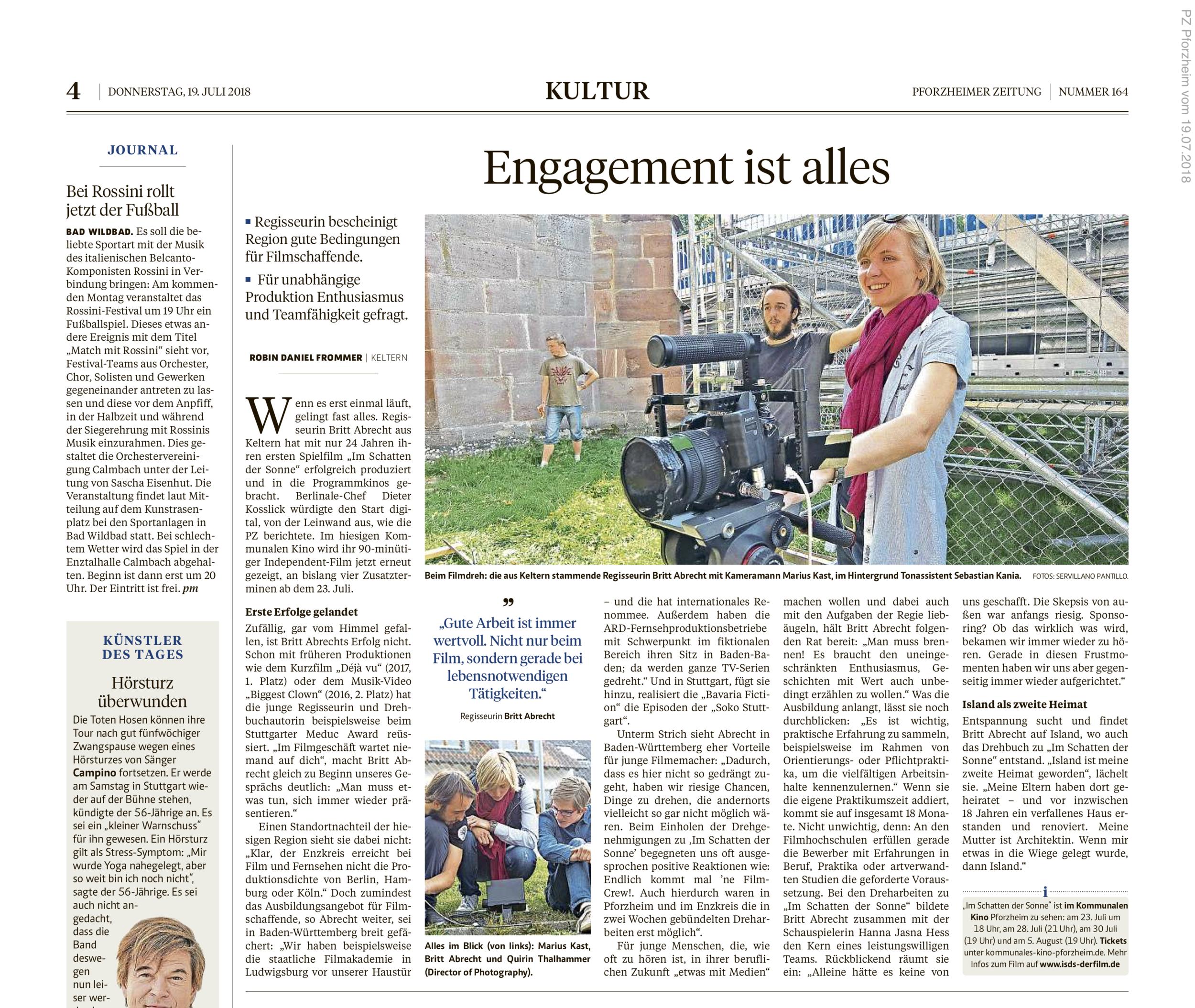 Bericht von Robin Daniel Frommer | Pforzheimer Zeitung  19. Juli 2018