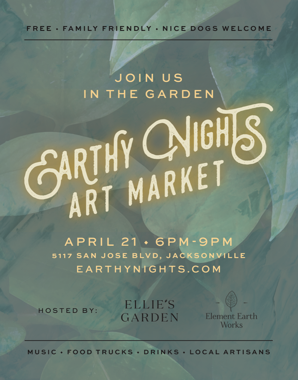 EARTHY NIGHTS ART MARKET  - Earth Day Eve, April 22  |  6:00 - 9:00pm  Come celebrate Earth Day with us!!Hosted by Element Earth Works, Dancing Elephant, and Ellie's Garden - join us for an evening market in the garden, under the stars! Featuring local artisans and makers, food trucks, beer, music, and fun for the kids.This is a free family event. Friendly pets welcome!If you would like to be a vendor, please contact us for submissions at:earthynights@gmail.comThere is no deadline to submit your work, and you may also be considered for future markets.Click here to learn more