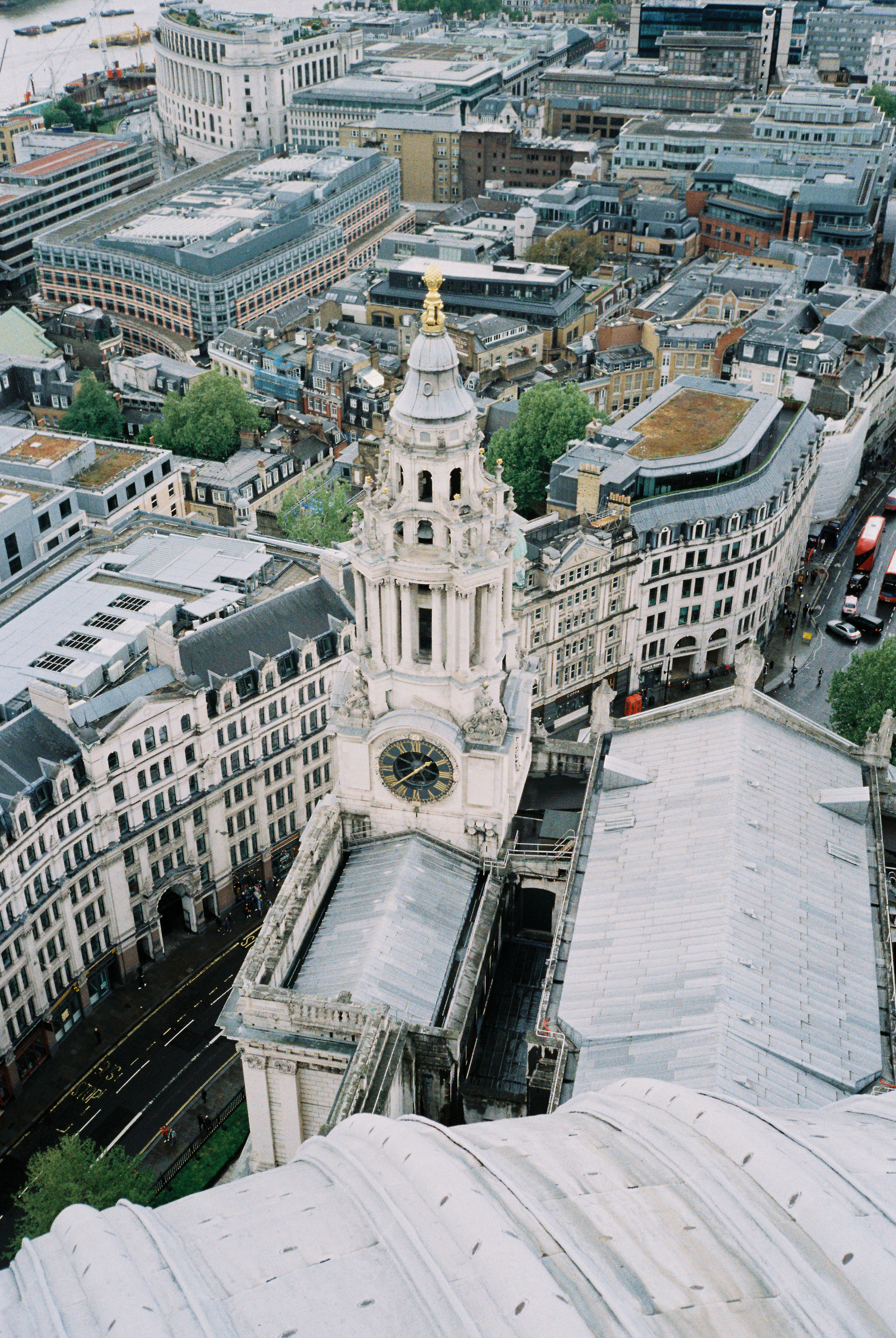View of the southwest tower from atop the dome of St. Paul's Cathedral | Olympus Stylus Epic + Kodak Pro Image 100. Scanned on the Fuji Frontier SP3000