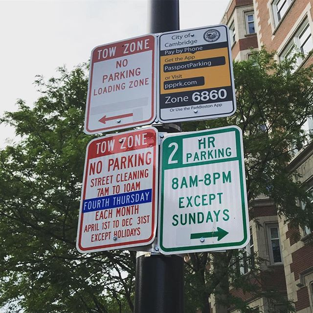 Is this the best way to help a tourist understand if they can park there? How am I supposed to figure out when the fourth Thursday is?! So confused! #ux #design #uxdesign #baddesign #userexperience #streetsign #parking #confused