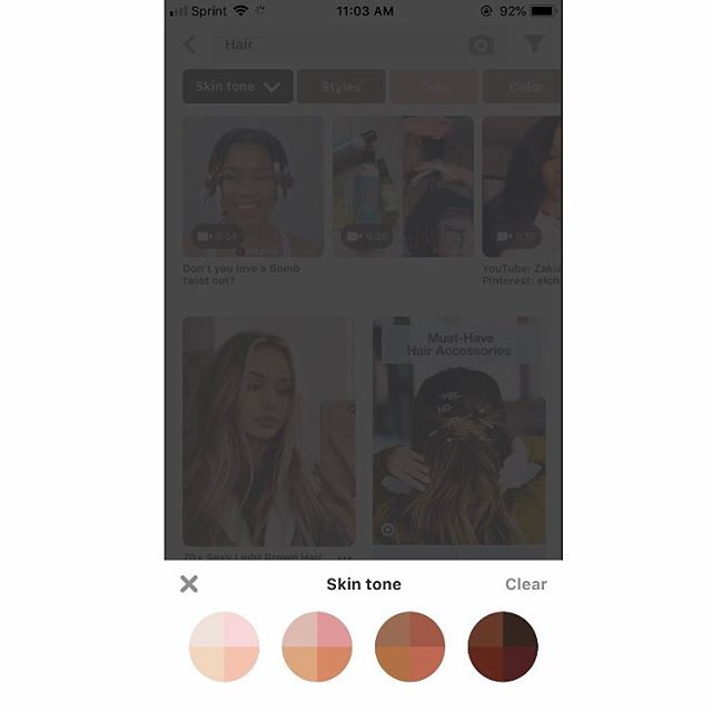 Pinterest let's you customize your search results based on skin tone, super helpful!  Credit to someone on Twitter! #ux #design #uxdesign #userexperiencedesign #interactiondesign #ui #pinterest