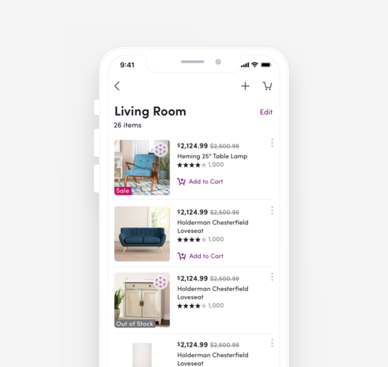 Wayfair Lists Redesign - Elevating the Lists experience for Wayfair's app to help users find and organize their favorites products. | full time, product designer 2019