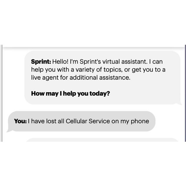 Sprints chat service displays your sent messages on the left side of the screen instead of the RIGHT SIDE!  Every messaging platform puts it on the right, so why is it on the left side?? It took me a minute to understand where my sent message were adding frustration to an already irritating experience. 👎🏽 Boooooo! #terribledesign #uxdesign #ux #design #userexperiencedesign #baddesign #uxresearch
