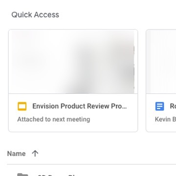 Google win! So on google drive in my quick access, I get to see the presentation that will be used in my next meeting! Google drive is synced to my calendar invites and email, so it shows me things that are probably most relevant to me at that time. A little invasive, but that sentiment is easily over come by the value it brings the user! Woohooo 🙌🏽 #ux #uxdesign #google #googledesign #userexperiencedesign #gooddesign #uxui #uidesign