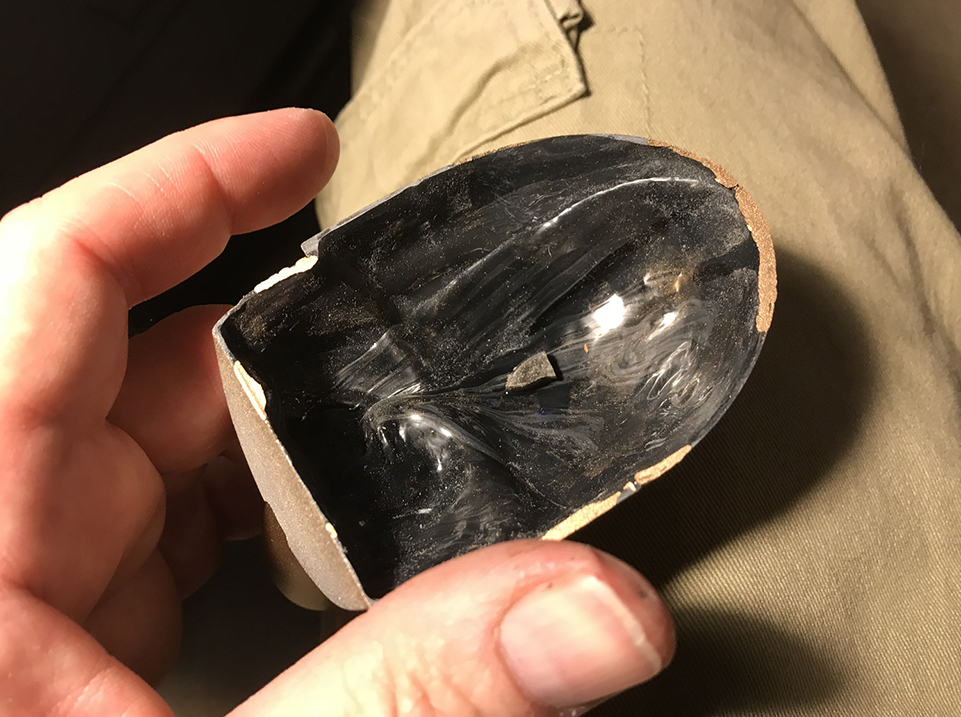 To hold the bowl in place without gluing, I inserted a chunk of broken magnet inside the belly.
