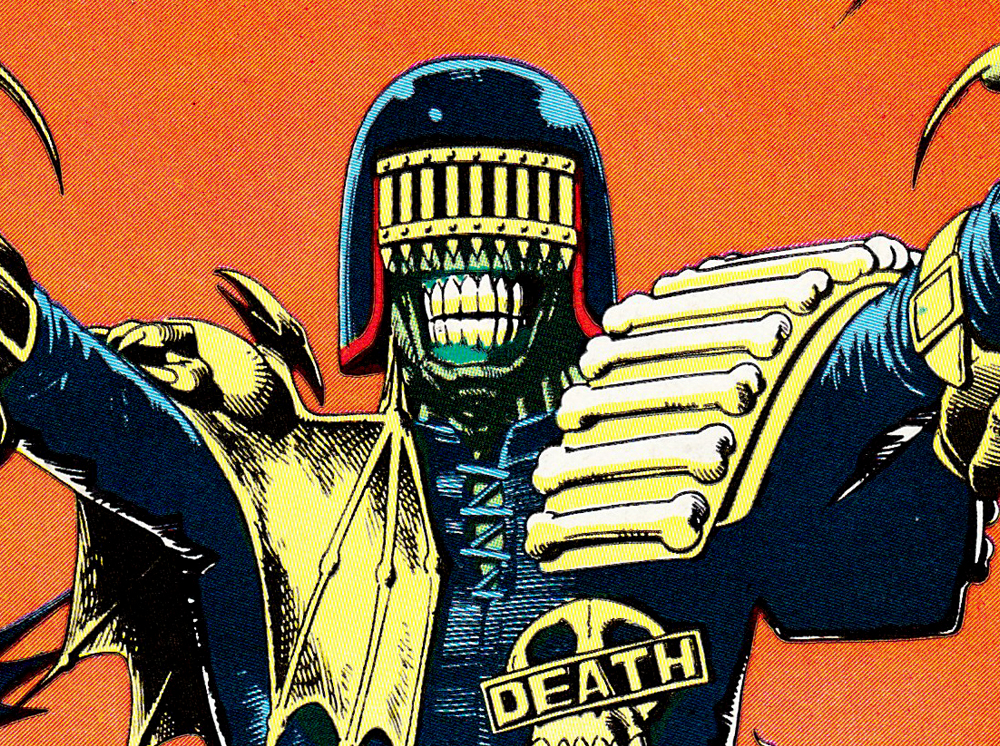 British comic artist Brian Bolland is the designer of Judge Death and one my favorite illustrators. I wanted to build my helmet based on his design.