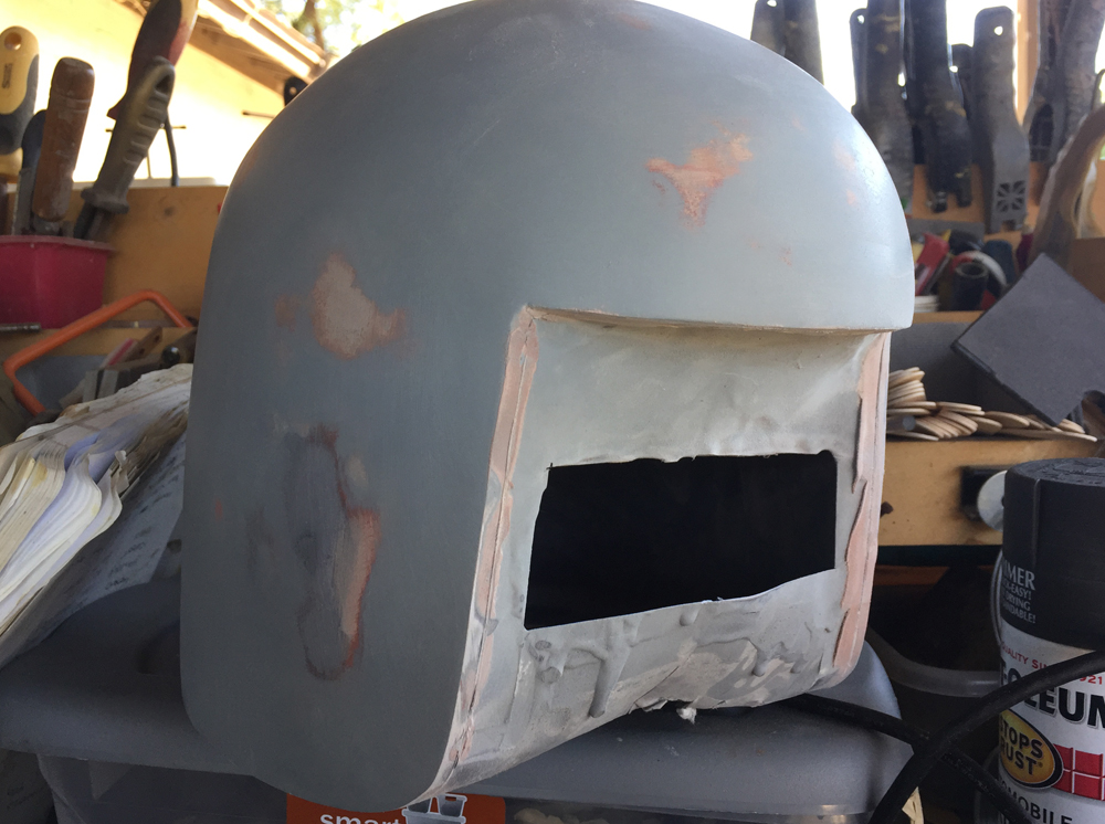 More smoothing and I scribed the thickness of the helmet.