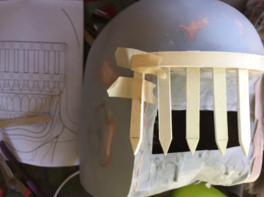 But once I placed it on the curve of the helmet, the spaces between the spikes were too wide. This was a lesson in the difference between two and three dimensions...