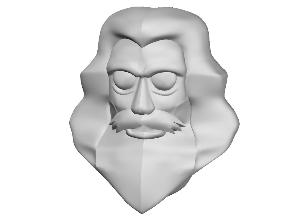 Face sculpted. Fortunately, I only have to sculpt one side…the geometry is mirrored automatically.