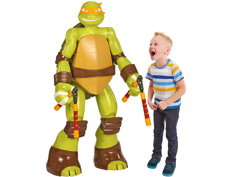 This is an accurate representation of me seeing the life-size Michelangelo toy. It just needed to be more accurate.