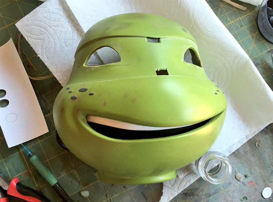 The new mouth glued in place.