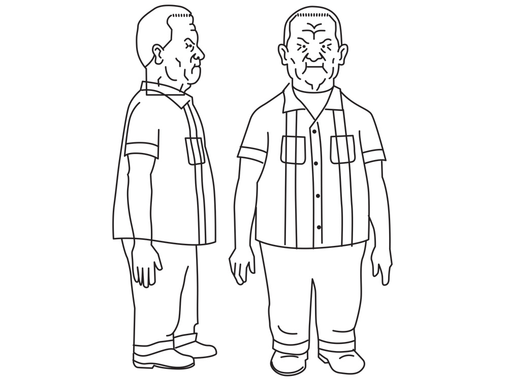 I made a front and side profile vector illustration from the model sheet. These views were imported into Strata to model the figure.