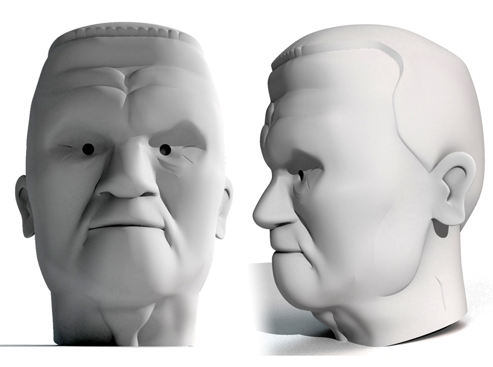 I started with the head to test out the 3D printing. I was hoping that Shapeways' full-color Sandstone would be a good solution.