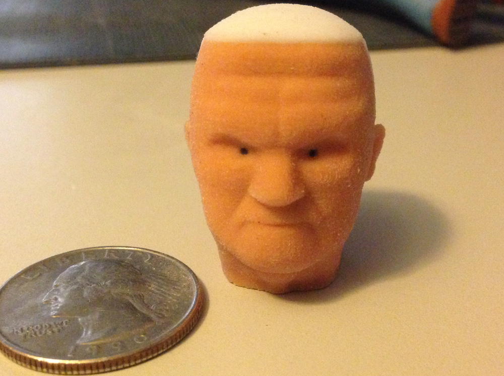 Here is a test print in the Sandstone. The resolution is a little rough but at arm's length, it has a nice natural feel.