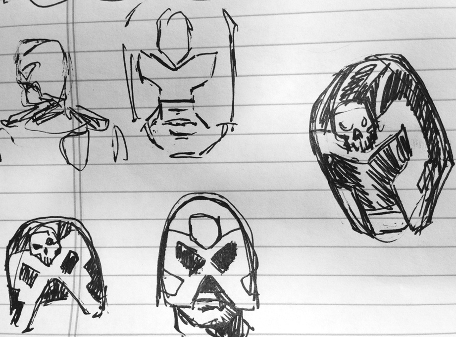 I sketched out a few options to try to bridge the basic design of the comic with the look they established in the film.