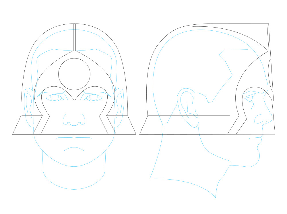 Using every image I could find from the issue, I drew up working plans using my  helmet template.