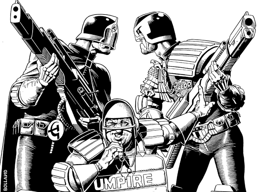 The first appearance of the East-Meg Judges took place in the Luna-1 stories (Progs 50-51) as drawn by Brian Bolland, my favorite Dredd artist.