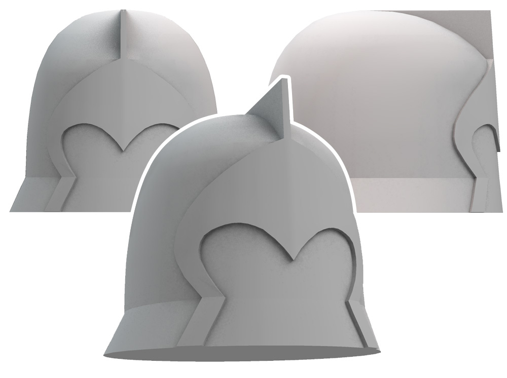 I imported the paths into Strata3D and constructed a model of the helmet.