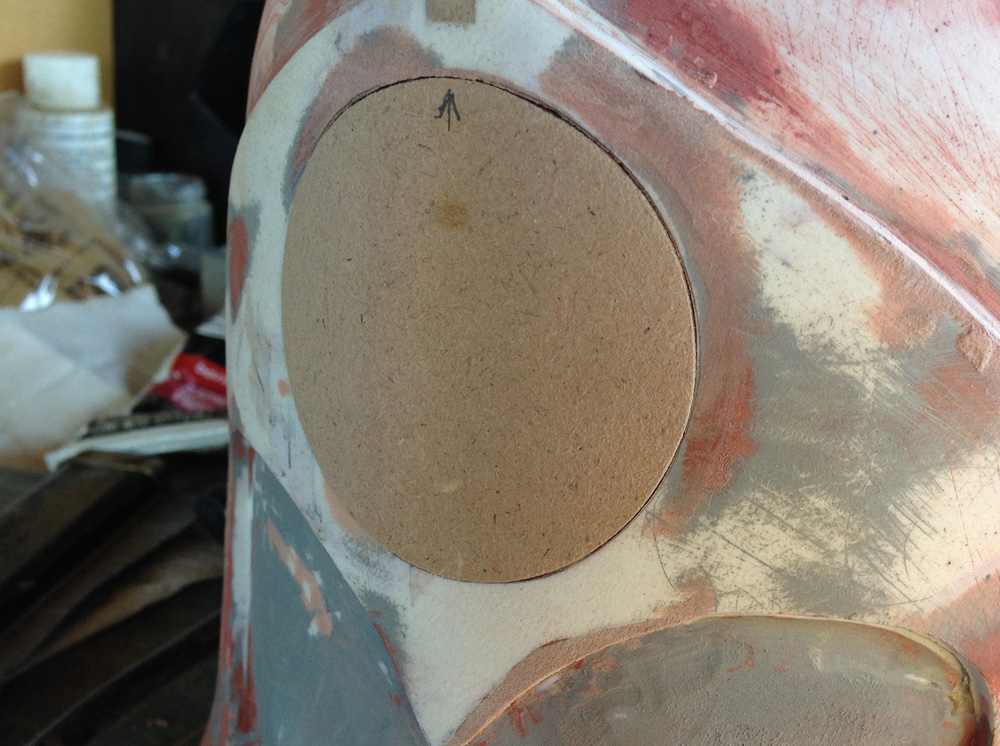The surface of the puck was sanded smooth to sit flush with the faceplate and match its curve.