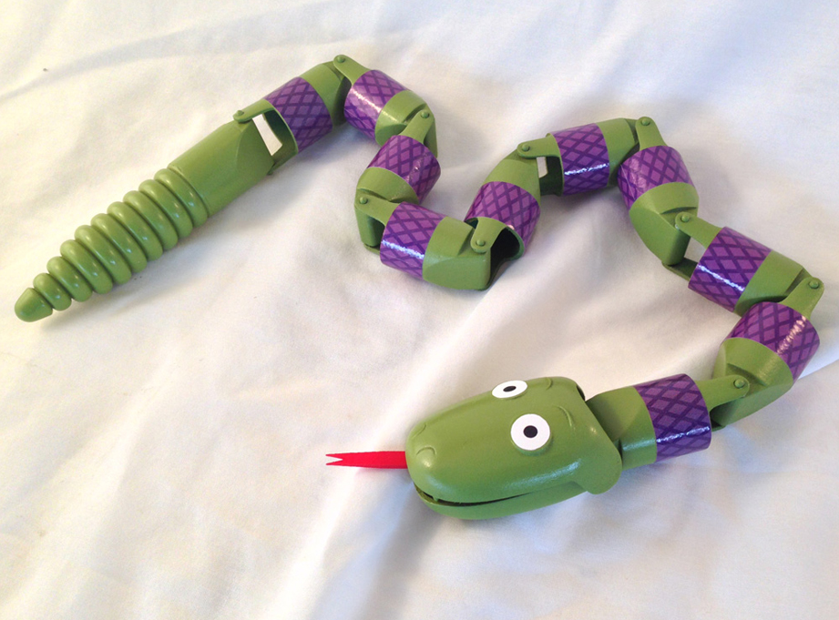 Here is the completed Snake, ready for Andy's room!