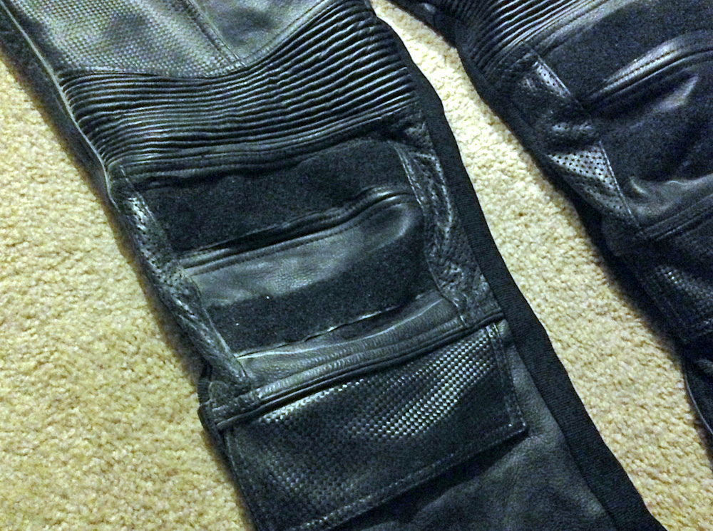 The knees have velcro in place to secure the knee pads.