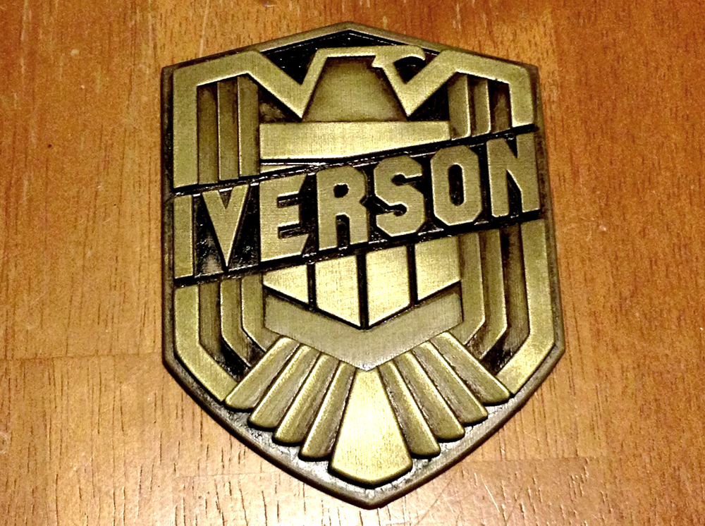 In addition to a Dredd badge that I bought for the collection, I was able to get a custom badge with my name from Sean Cho via the Facebook group!!