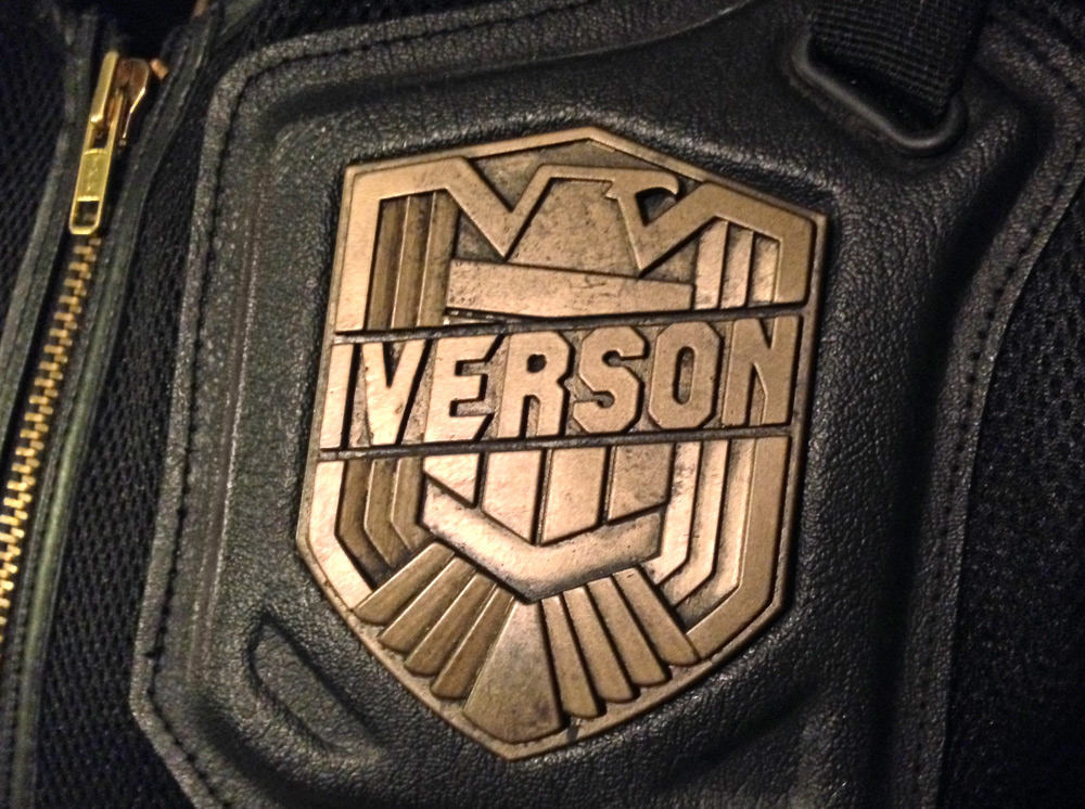 The badge was then weathered and attached to the vest.
