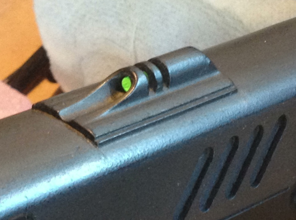 I also drilled out the rear sight and glued in a fiber optic shotgun sight. Not movie accurate but I think it's cool and makes some real-world sense.