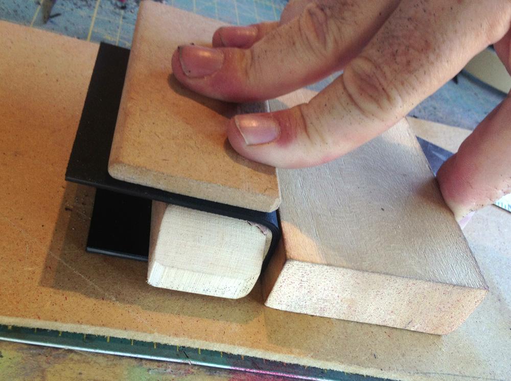 I worked around the magazine using blocks to make each bend.