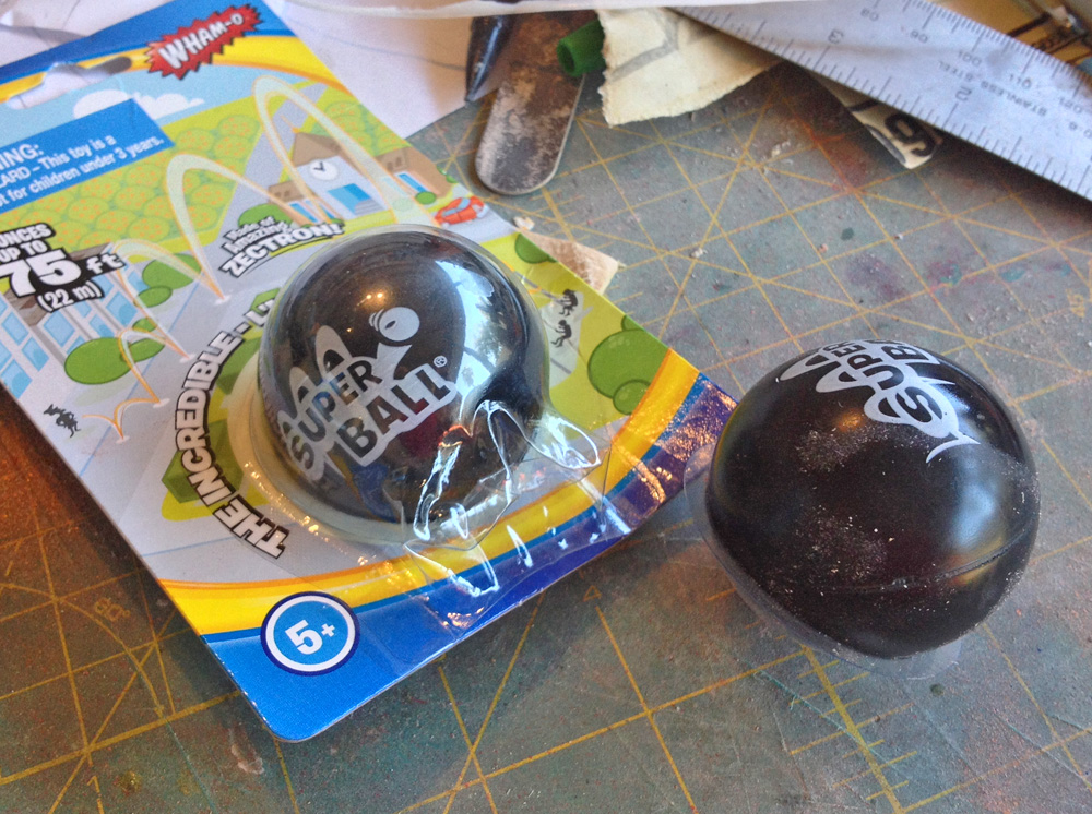 To make flash-bang grenades, I found a rubber ball of the right diameter at the dollar store.