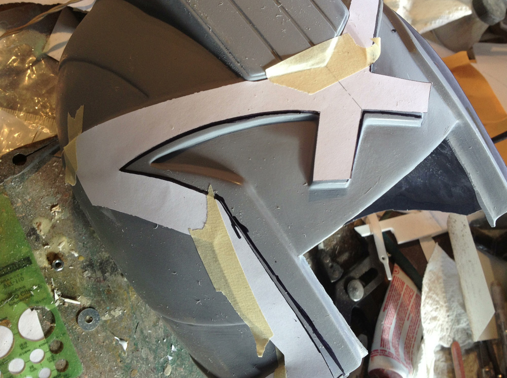 They also included paper templates for making some final corrections around the face opening. After taping them in place, I used a Sharpie to mark where I needed to cut.
