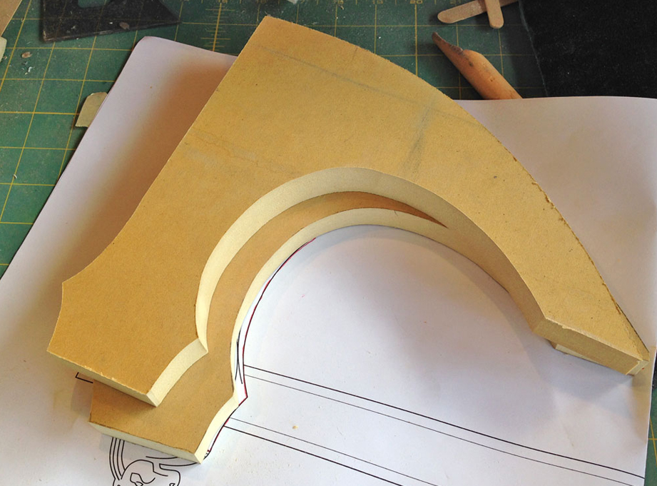 "For the blade, I transferred the profile from my plans to two sheets of 3/4"" MDF."