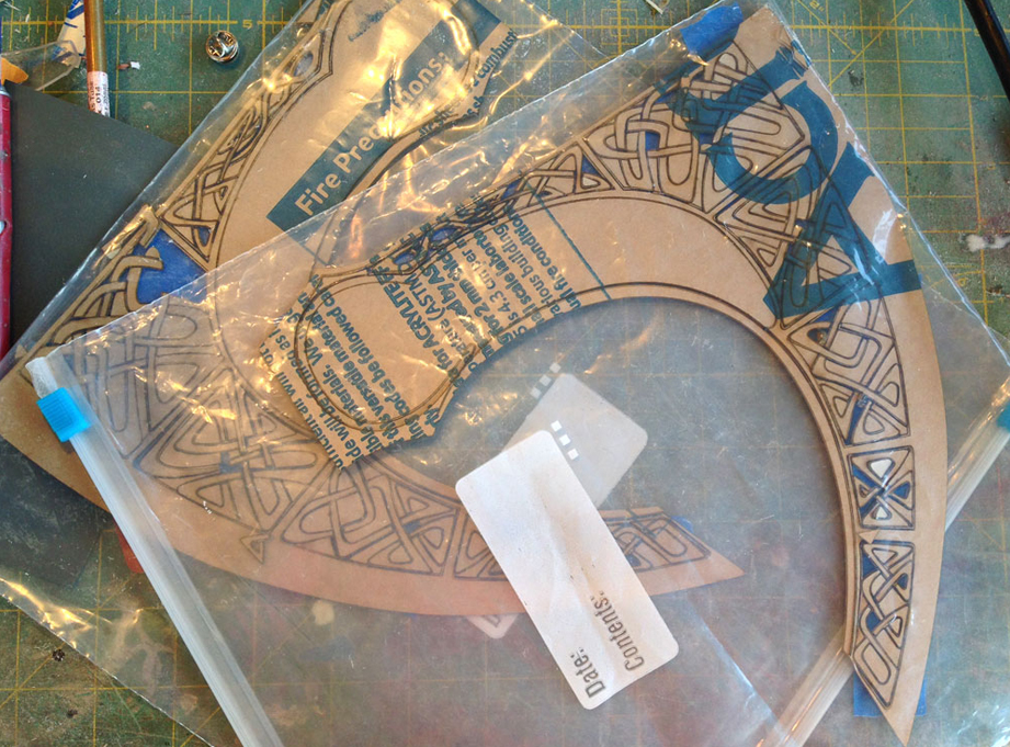 """I had the blade designs laser cut from 1/16"""" acrylic by Scorpion Ridge Engraving."""