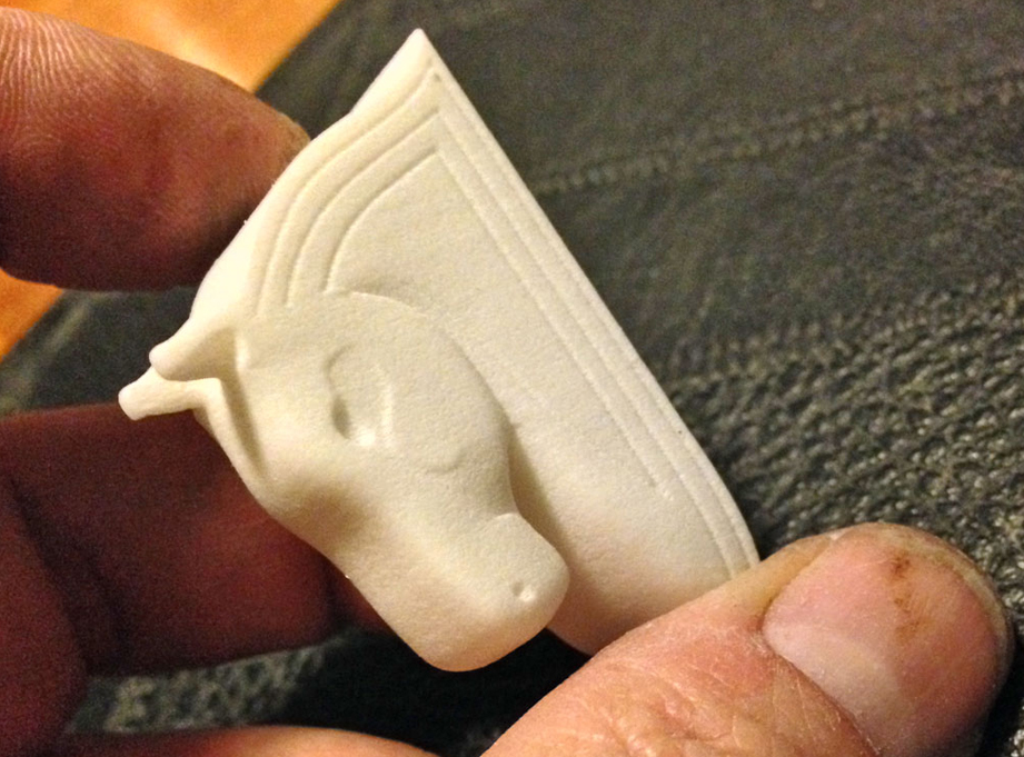 A couple of weeks later I got the 3D print of it. I could've made some of the detail deeper but it'll still work.