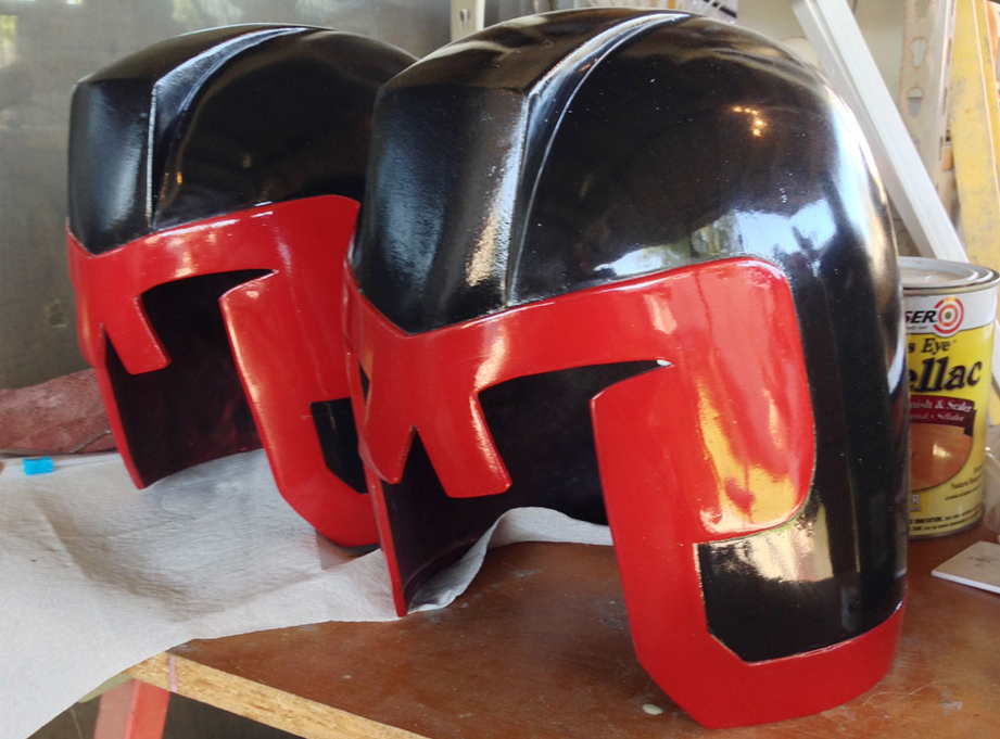 I painted the helmet with a flat black spray paint and then masked it to paint the red border. Once that dried, I wet sanded the finish and then gave it an enamel clear coat.
